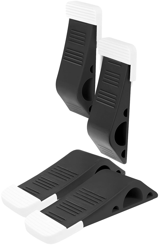 Stilemo Door Stopper - Non slide, Tall Rubber Wedge - Modern Design Doorstop with holder, Black (Pack of 4)