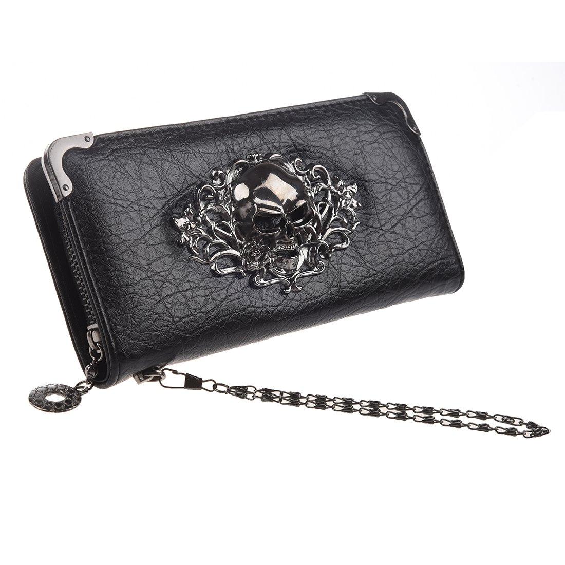 HOYOFO Skull Wallets for Women Long Purse Phone Card Holder Cool Fashion Clutch Wallet, Black