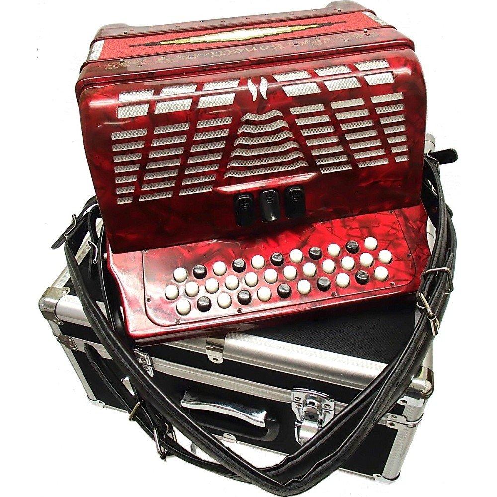 Bonetti Red 3-Switch Diatonic Button Accordion GCF 3412