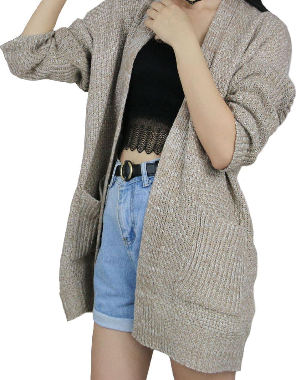 SHFZ Women's Long Sleeve Cardigan Casual Loose Outwear Sweater Coat