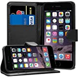 iPhone 6 6S Case - Black Premium Wallet Leather Flip Case Cover For iPhone 6 6S With [Card Holder] [Magnetic Closure]