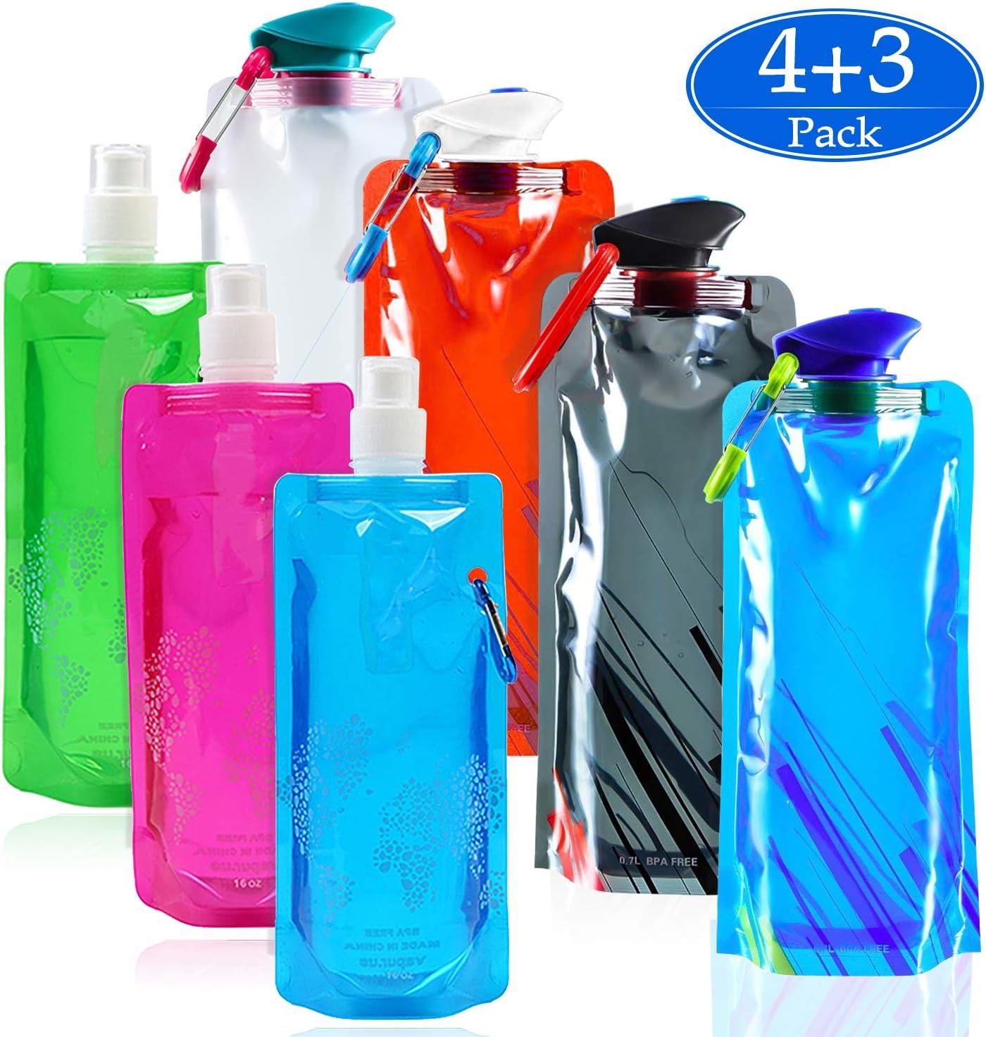 SANTOO 7 PCS Botella Plegable Ecológicas, 4 * 700ML Bidón de Agua Portátil Y 3 * 500ML Bolsa de Agua Plegable para Senderismo, Aventuras, Viajes.