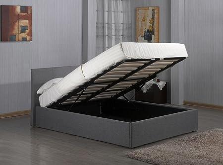 Bedsandbeds Limited - Somier con espacio de almacenamiento de lino gris, de 137 cm, doble pequeño, con colchón, tela, Gris, 4ft6 Standard Double ...