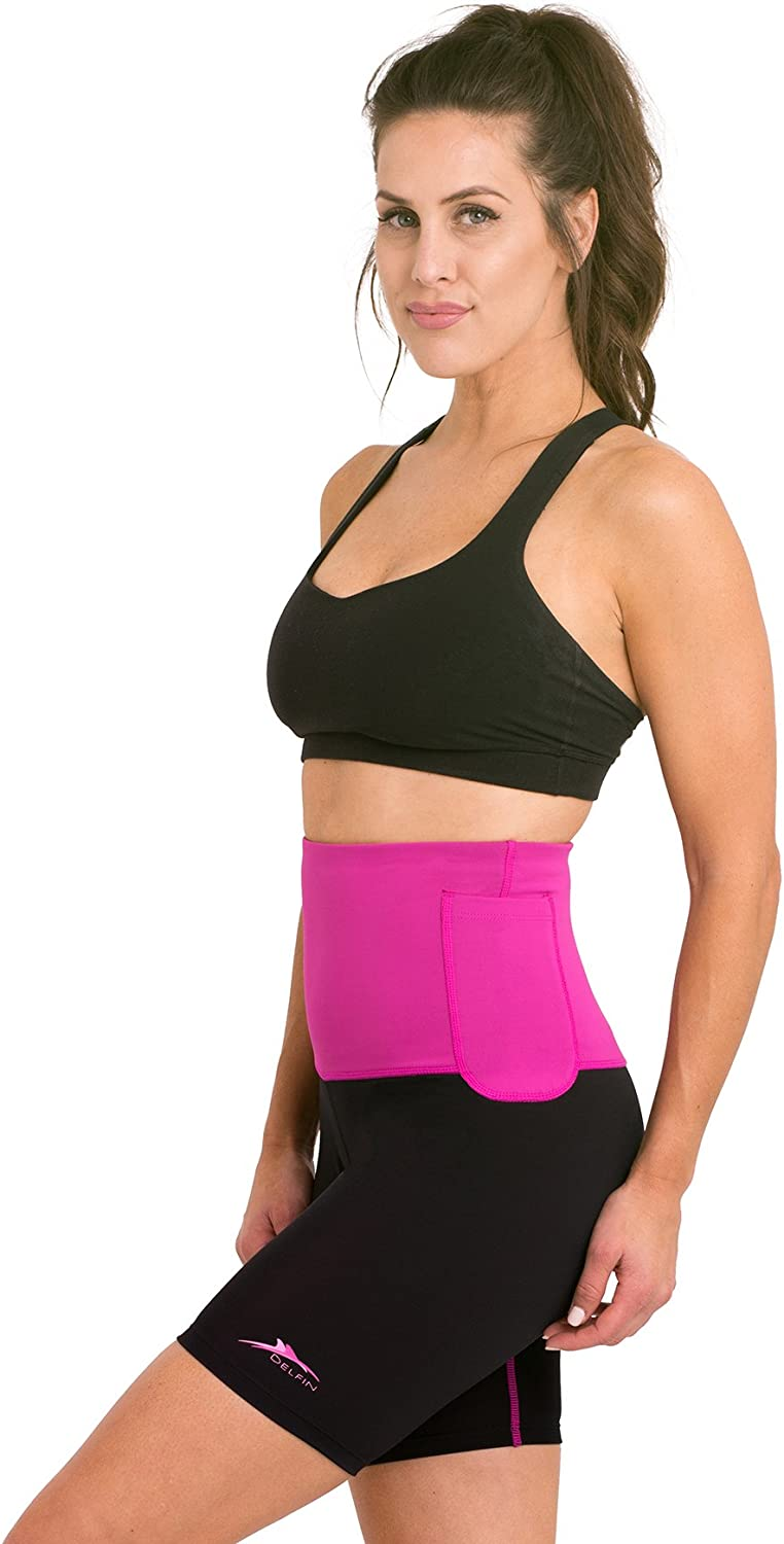 Petite Thru Plus Size Delfin Spa Womens Mineral Infused High Waist Exercise Shorts