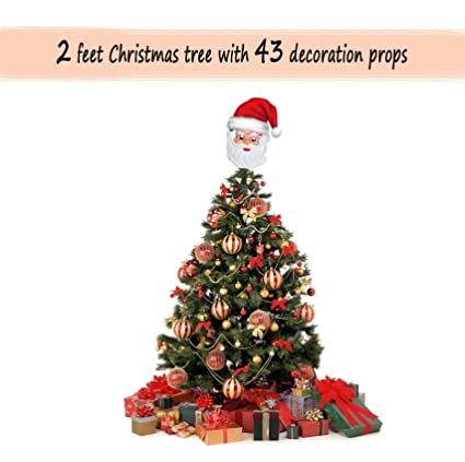 TIED RIBBONS Christmas Tree 2 feet with 43 Tree Hanging Ornaments (Mask 3b8837ec72d6