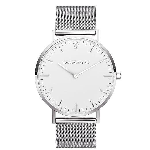 Paul Valentine | Marina Plata Malla | Mujer Reloj De Pulsera Con elegante diseño & atemporal