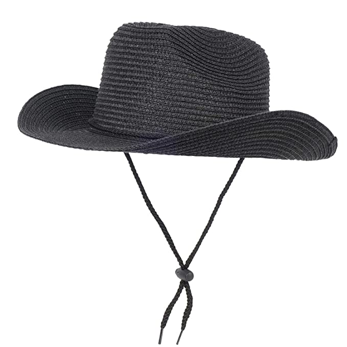3c1bf58a Unisex Straw Cowboy Hat Mens Western Outback Straw Sun Hat Summer Sun  Protection Hat