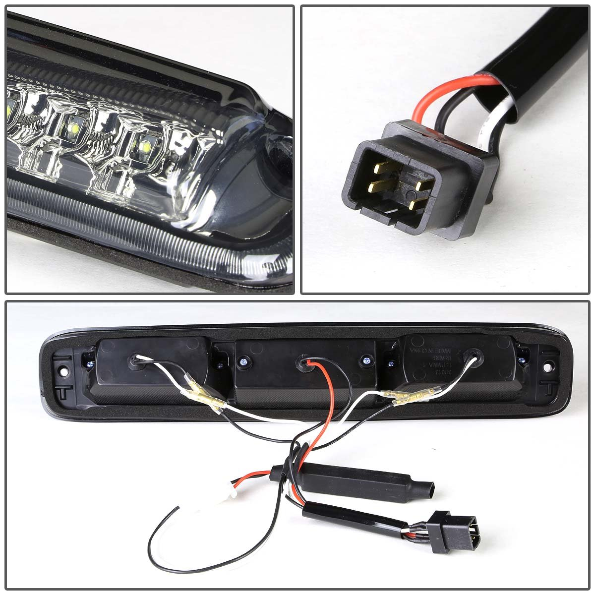 For Silverado Sierra Gmt800 High Mount Dual Row Led 3rd 2001 Gmc 3500 Brake Light Wiring Cargo Smoke Lens Automotive