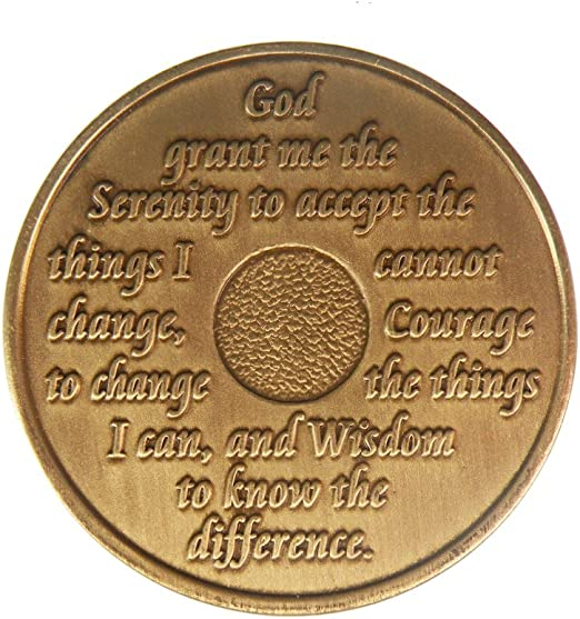 43 Year Bronze AA Chip Anniversary Recovery Coin Alcoholics Anonymous Medallion Sober Birthday Sobriety