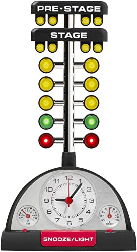 Mark Feldstein Drag Racing Christmas Tree Lighted Thermometer Sound Tabletop Alarm Clock