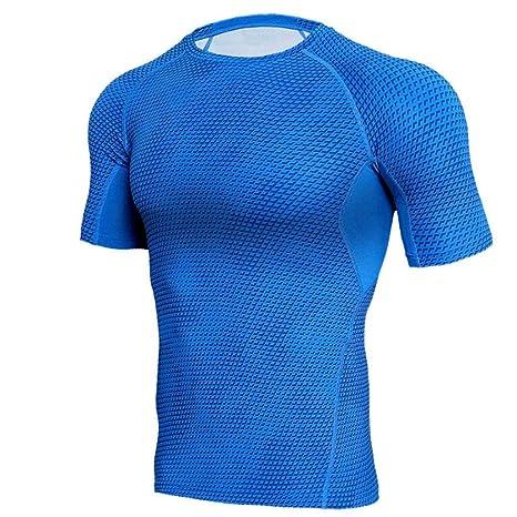 Camisetas de hombre, culturismo, manga corta, camisa de secado ...