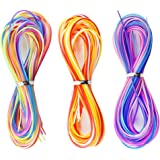 COM-FOUR® Scoubidous Bänder Flechtschnüre 60 Stück in 3 verschiedenen Farben (Bunt/Lila/Rot)