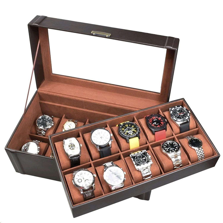 Ikee Design 腕時計ケース 木製 人工皮革ボックス ディスプレイ ジュエリー オーガナイザー 収納 鍵と錠つき B017I0VC9C
