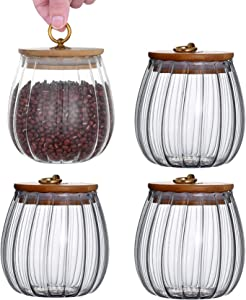 Glass Food Storage Jars Containers with Airtight Bamboo Lids-4 Pack 25 oz Glass Kitchen Canisters for Tea, Coffee, Flour, Candy, Sugar, Cookie, Spice (Ball-4 Pack)