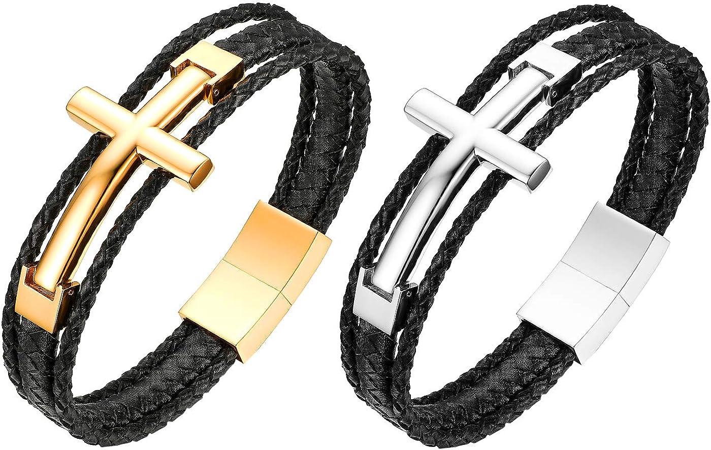 Flongo Bracelet en Cuir Croix J/ésus Christ Acier Inoxydable Bracelet Machette Multi-Rangs Couleur Argent//Or pour Homme Biker Motard