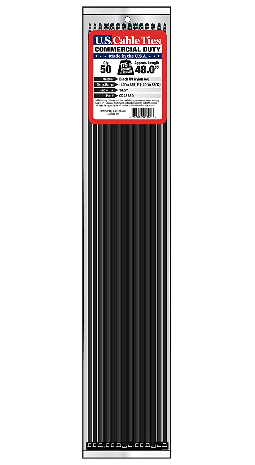 UV Black 25-Pack Hot Max US Cable Ties CD24B25 24-Inch Commercial Duty Cable Ties