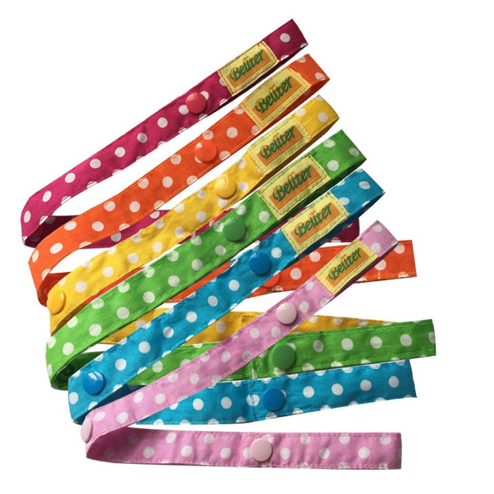 6 pezzi di cotone portatile regolabile bambini catenelle clip ciuccio, cinturino per giocattoli per bambini (6 colori) Tnkinuyi