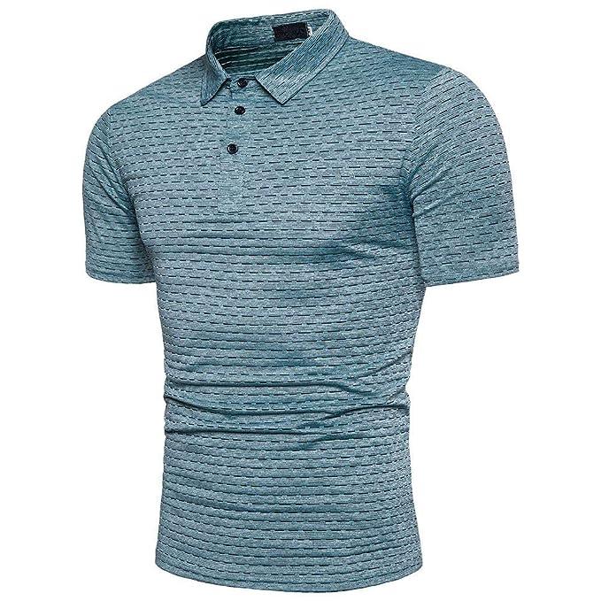POLP Polos para Hombre Camisa Rayas Blusa Casual de Manga Corta para Hombre Cuello de Solapa