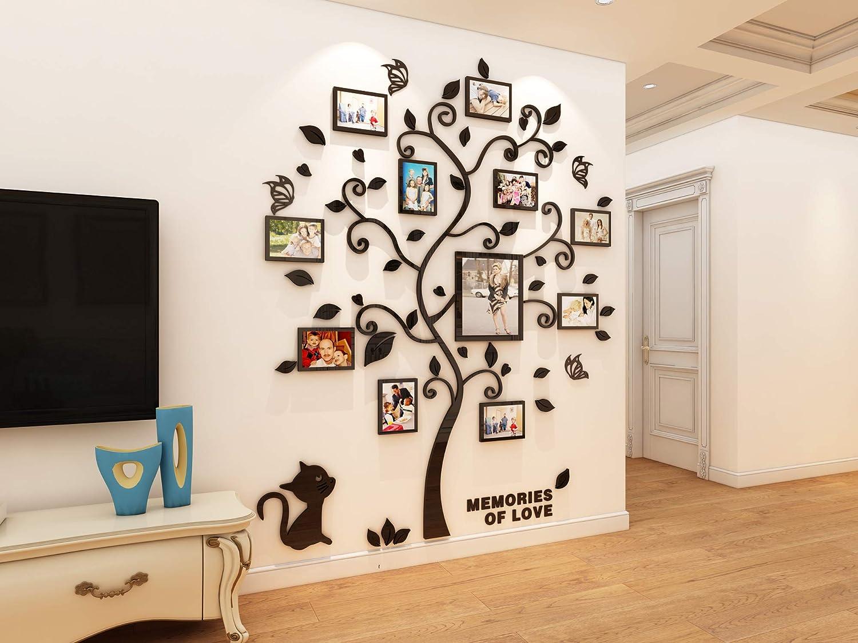 Asvert 3D Pegatina de /Árbol Vinilos Hojas Negros 132 160 cm con 11 pcs Marcos de Foto Adhesivo Decorativo de Pared para Dormitorio Hogar Oficina