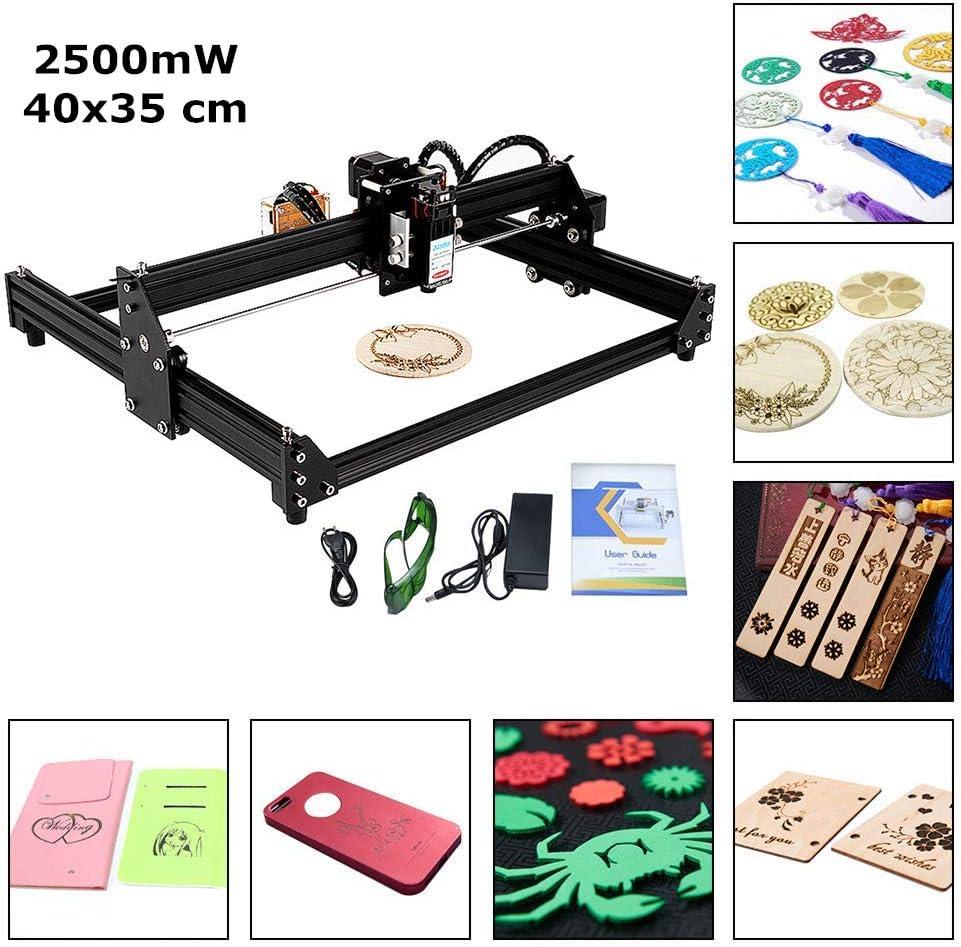 S SMAUTOP 4035B Kits de grabado láser CNC 2 ejes Módulo de 2500mW Los 40 * 35cm Bricolaje Mini máquina de tallado láser USB Para grabado de motor de husillo y grabado láser