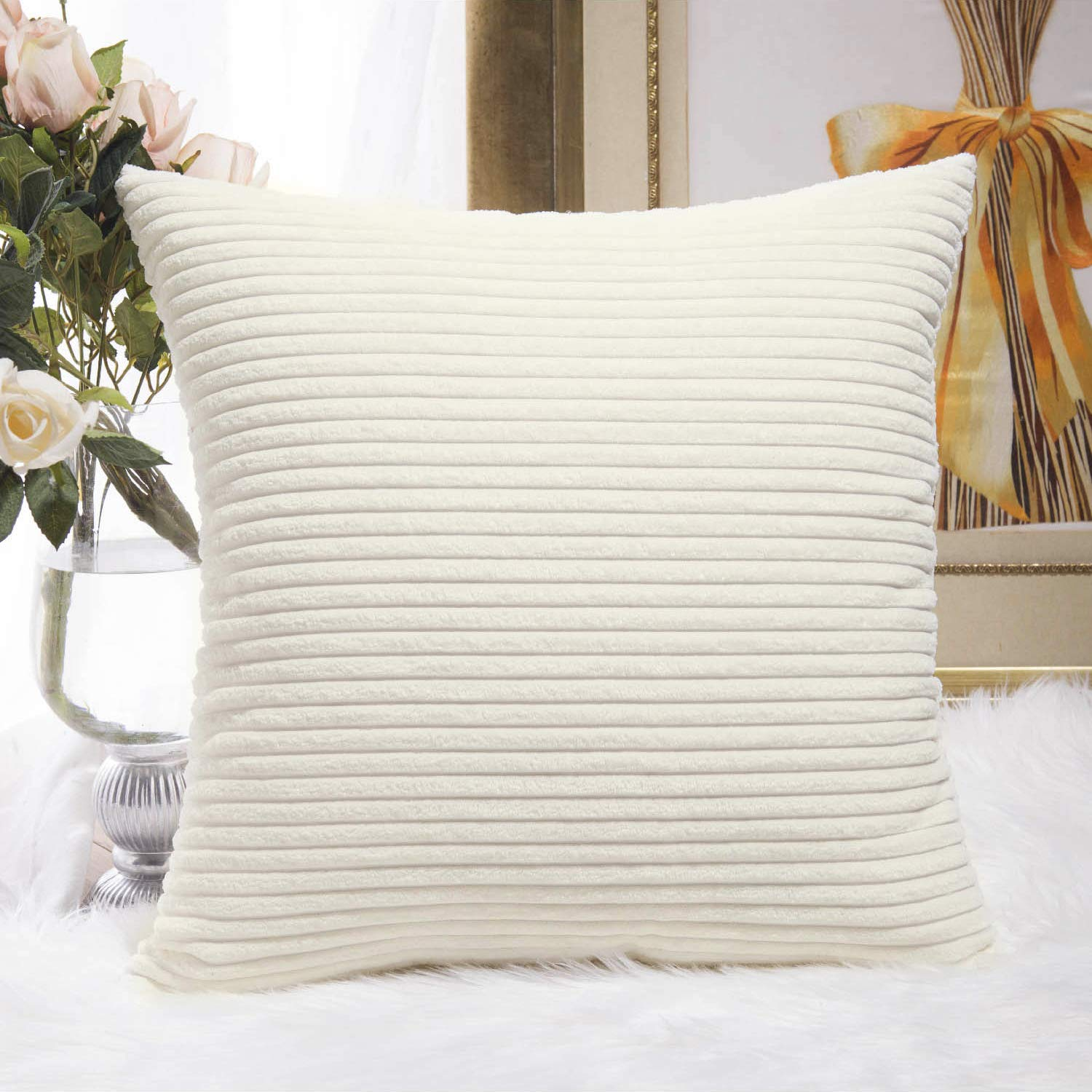 HOME BRILLIANT Super Soft Striped Corduroy Velvet Decorative Euro Throw Pillow Sham Cushion Cover for Baby, 26x26 inch(66cm), Creamy White