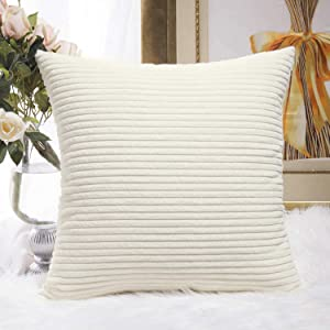 HOME BRILLIANT Striped Velvet Corduroy Euro Throw Pillow Sham Couch Cushion Cover for Teen Girls, 24 x 24 inch (60cm), Creamy White