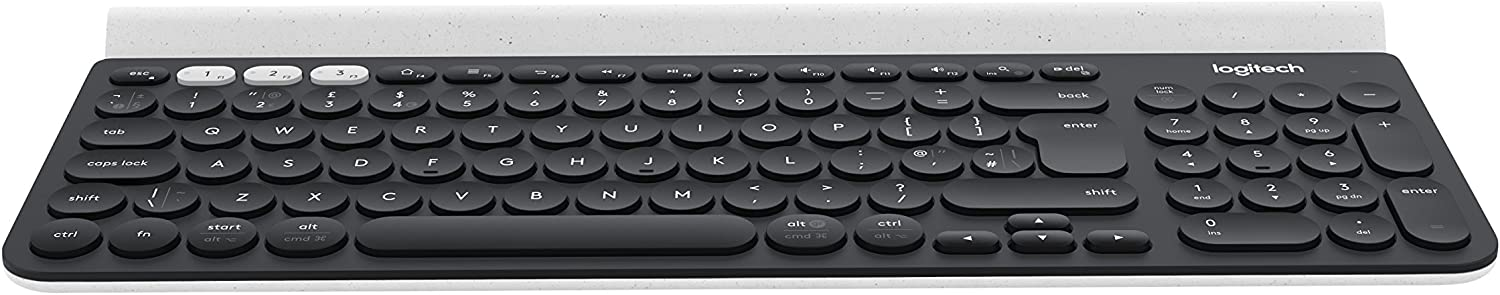 Logitech K780 Multi-Device Wireless Keyboard for Windows Apple android Chrome Wireless 4GHz and Bluetooth Quiet Mac Laptop Smartphone Tablet QWERTY Layout Dark Grey White
