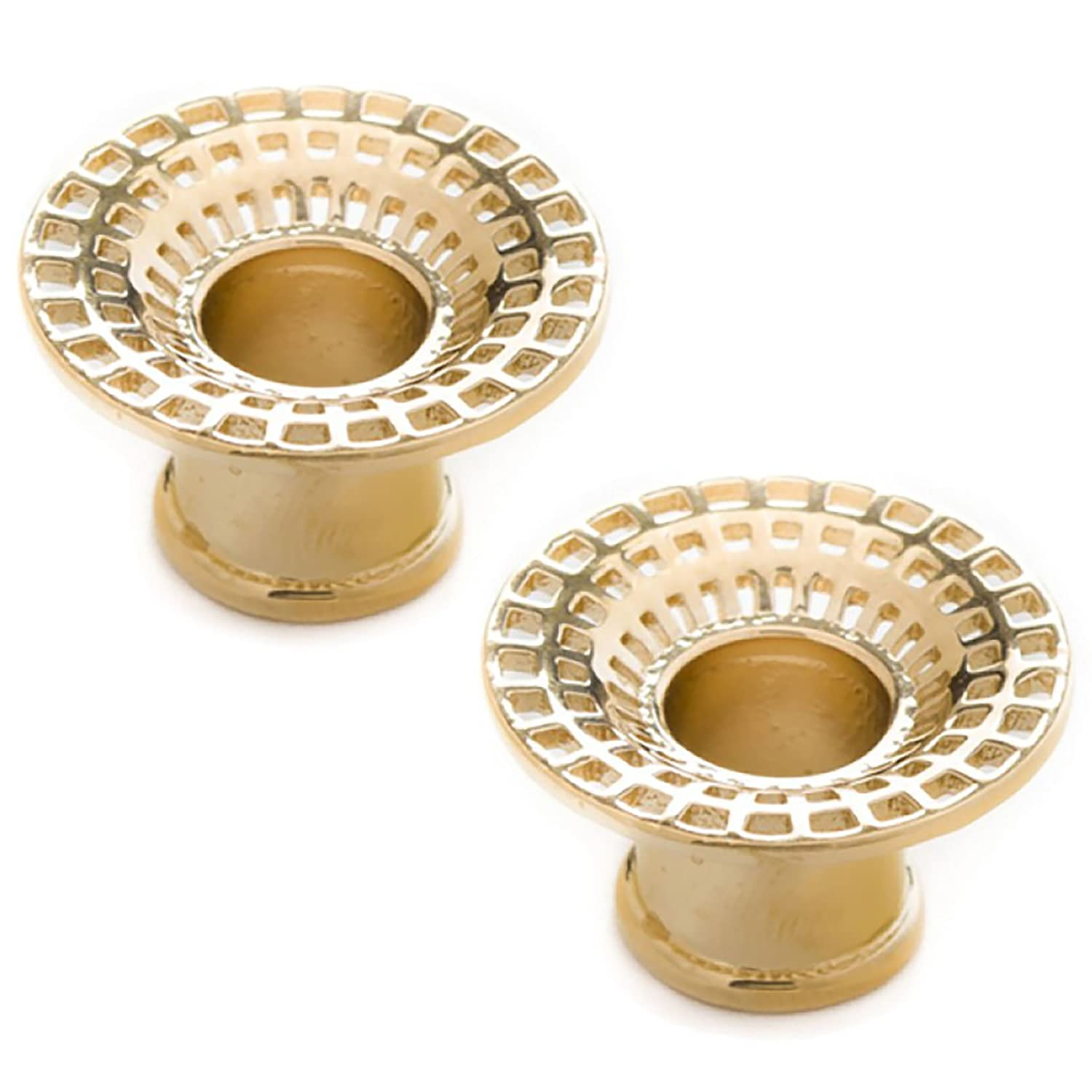 2g Tawapa 56-PAIR-AUP37-2 Steel Navel Body Jewelry Pair of Gold Plated Double Flared Black Hole Eyelets