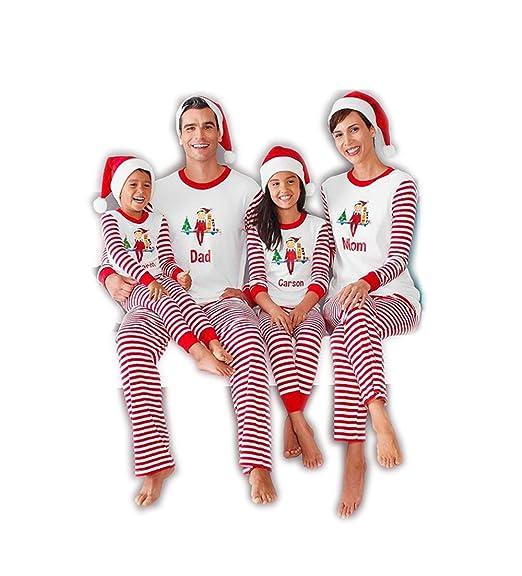 52010ac001 BABE MAPS Stripes Christmas Matching Family Pajamas Sleepwear