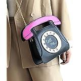 洋子ちゃん 面白い4色電話斜めがけのショルダーバッグの女性のファッショナブルなポシェットレディース面白い角度がけポシェット女の子財布ショルダーバッグの女性の女性が崖クラッチバッグ/ハンドバッグ/ハンドバッグ袋を斜め(ブラック+白+赤+青)(ブラック) 20センチメートル* 7センチメートルの*の16センチメートル 黒色