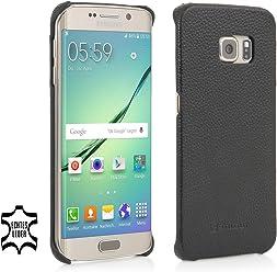 StilGut® Cover Type Case, Cover in Pelle per Samsung Galaxy S6 Edge, Nero