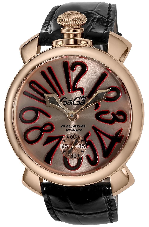 [ガガミラノ]GaGaMILAN 腕時計 MANUALE48MM ピンクゴールド文字盤 501111S-BLK-BKS メンズ 【並行輸入品】 B06ZZ7JPVZ