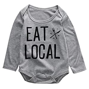 Baby Boys Girls Long Sleeve Eat Local Funny Bodysuit Baby Romper (80(6-12M), Grey)