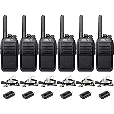 Retevis RT28P Long Range Walkie Talkies Rechargeable Hands Free Alert UHF FRS 16 CH Two Way Radio with Earpieces(6 Pack): Car Electronics