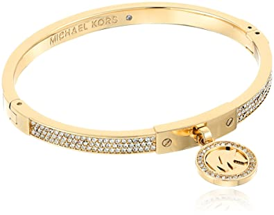 Amazoncom Michael Kors Gold Tone Fulton Hinge Bangle Bracelet Jewelry