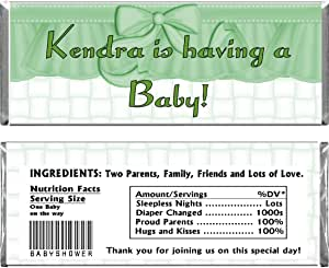 Green Ruffle Girl Baby Shower Personalized Custom Wrappers & Foils for Chocolate Candy Bars (25)