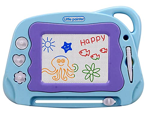 Magnetic Drawing Board Mini Travel Magna Doodle Erasable Writing Sketch Colorful Pad Area Educational Learning Toy For Kid Toddlers Babies With 3 Stamps And 1 Pen Sky Blue