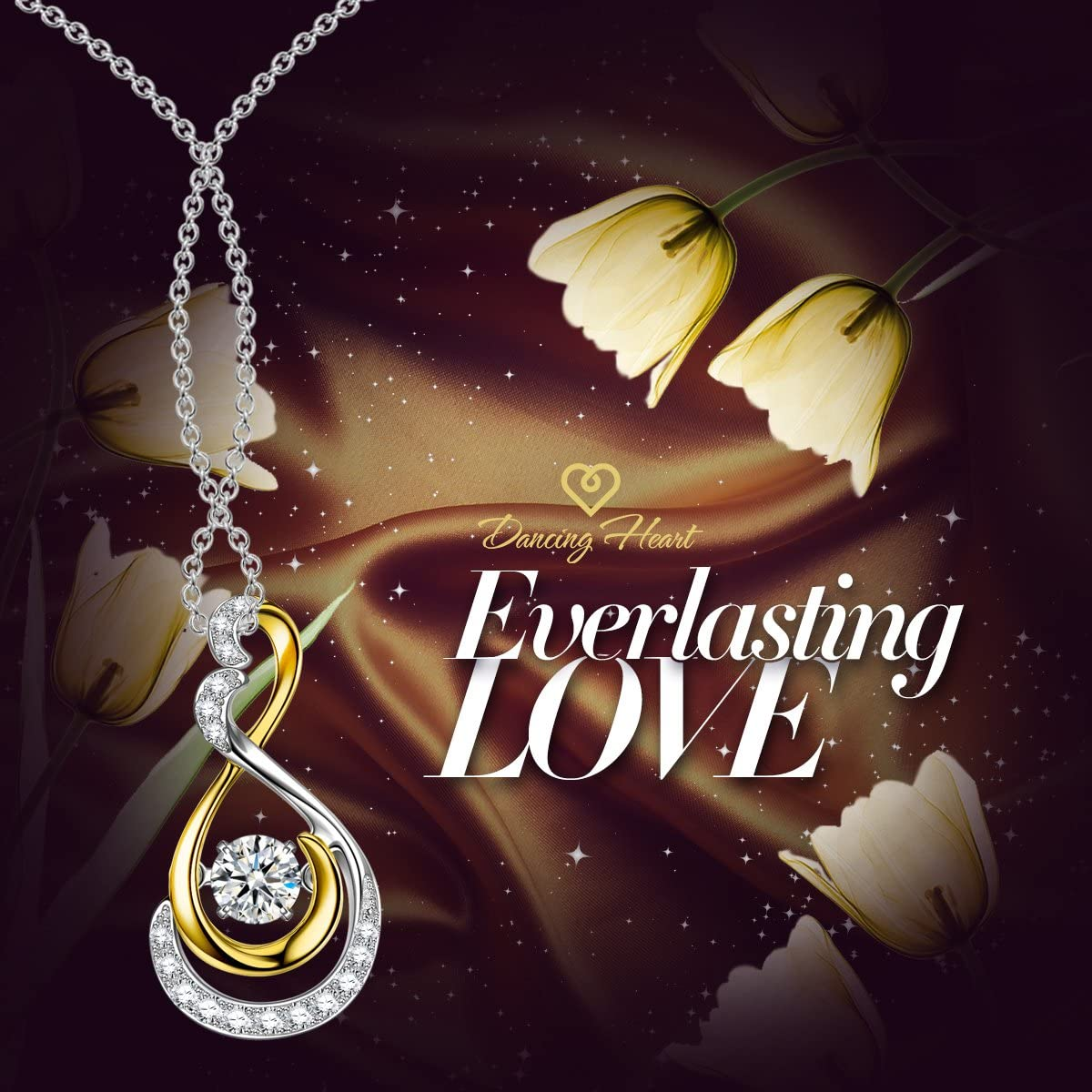 DANCING HEART ✦Endless Love✦ Women Christmas Necklace Gifts 18K Gold Plated Round Pendent Necklace for Women 2019 Summer Collection