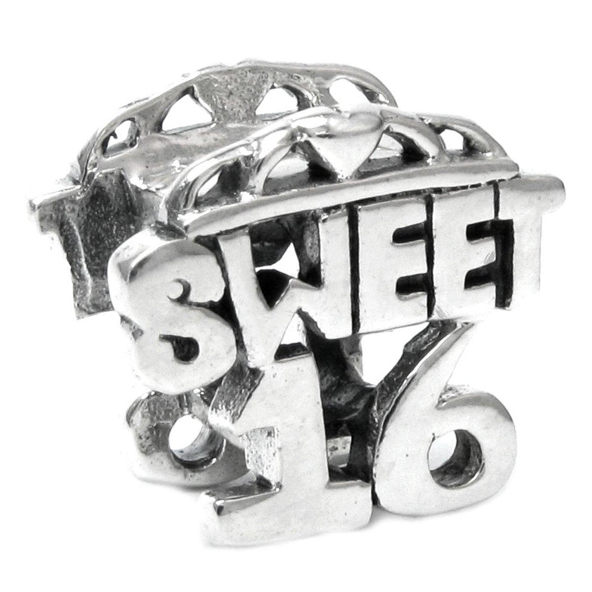 Sterling Silver Sweet 16 Heart Love European Bead Charm