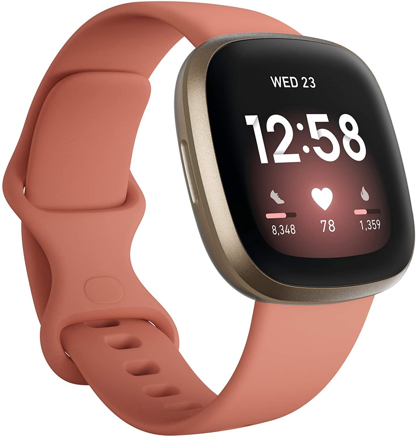 Fitbit Versa 3 Health & Fitness Smartwatch with GPS, 24/7 Heart Rate, Alexa Built-in, 6+ Days Battery, Pink/Gold, One Size (S & L Bands Included)