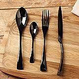 LEKOCH 4-Piece Stainless Steel Flatware Cutlery Set Including Fork Spoons Knife Black Silverware
