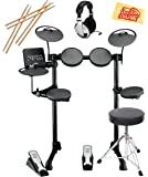 Yamaha DTX400K Electronic Drum Set Bundle with Drum Throne, Drum Sticks, Headphones, and Polishing Cloth