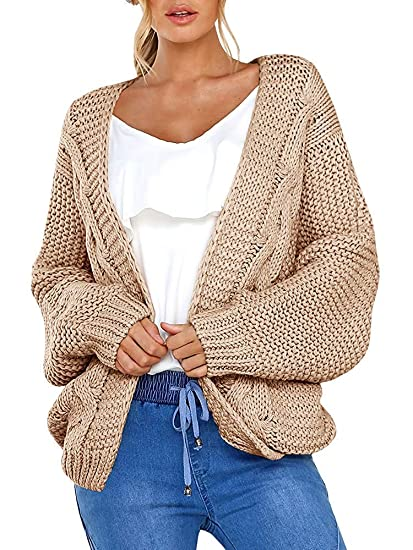Womens Cardigan Sweaters Open Front Long Sleeve Chunky Knit Cardigan