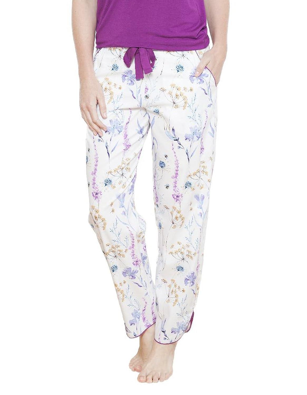 Cyberjammies 3643 Women's Florence White Floral Pajama Pyjama Pant
