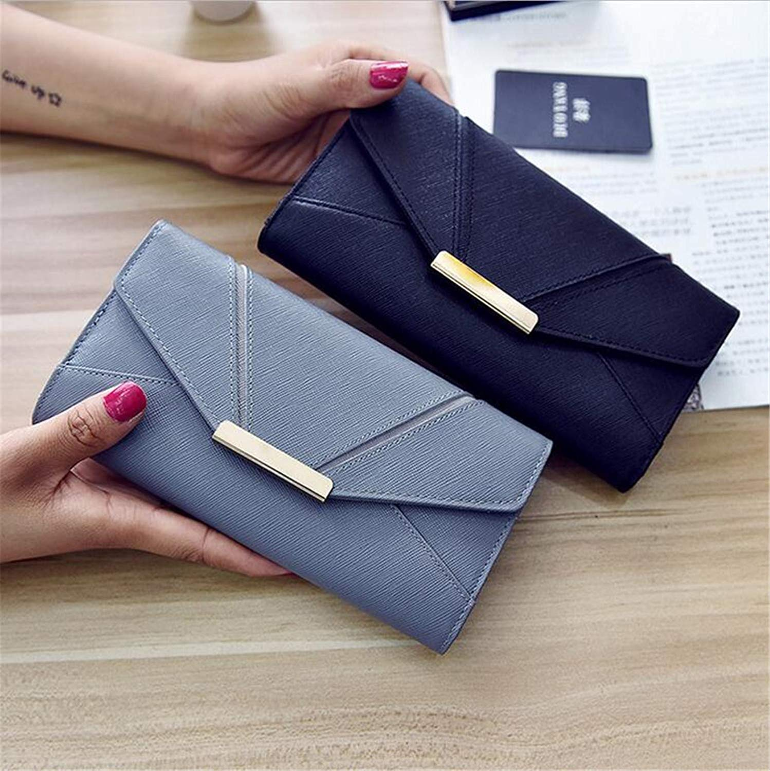 Couple Soft Women's PU Wallet Long Section Splicing Trifold Wallet Card Package Fashion Leisure Travel Shopping Elegant Large Capacity 9 Card Slots Purse Handbag (color   Couple)