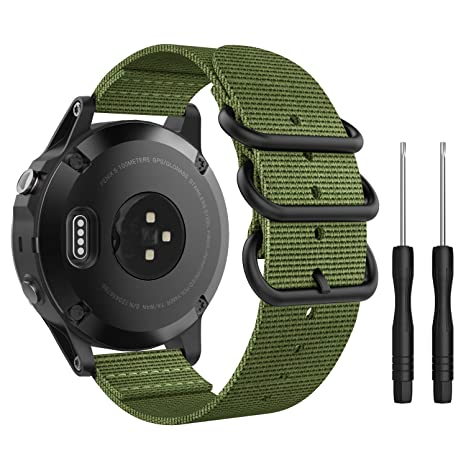 MoKo Band Compatible with Garmin Fenix 5, Fine Woven Nylon Adjustable Replacement Strap with Metal Buckle for Garmin Fenix 5/5 ...
