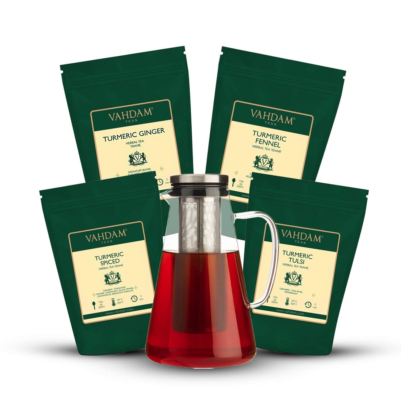 VAHDAM Turmeric ICED TEA Immunity Kit- Set of 5 I 4 TURMERIC SUPERFOOD Herbal Teas I 7 oz each (150-180 cups) I 100% Natural Ingredients I Easy to Maintain 50.7 oz Iced Tea Jar I Summer Value Pack