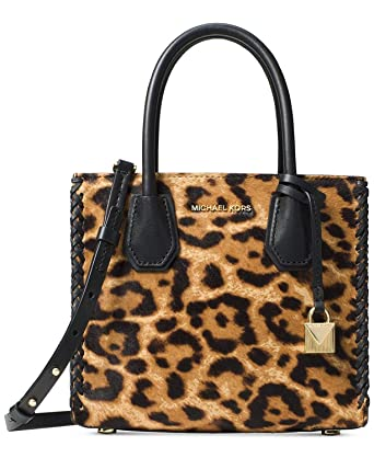 8ad14423e226 Image Unavailable. Image not available for. Color: Michael Kors Mercer Leopard  Print Leather Crossbody 30F7GM9M2H226