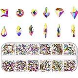 240Pcs Mixed Nail Art Rhinestones Diamonds Crystals Beads Gems for DIY Nail Accessories Decor and Eye Makeup