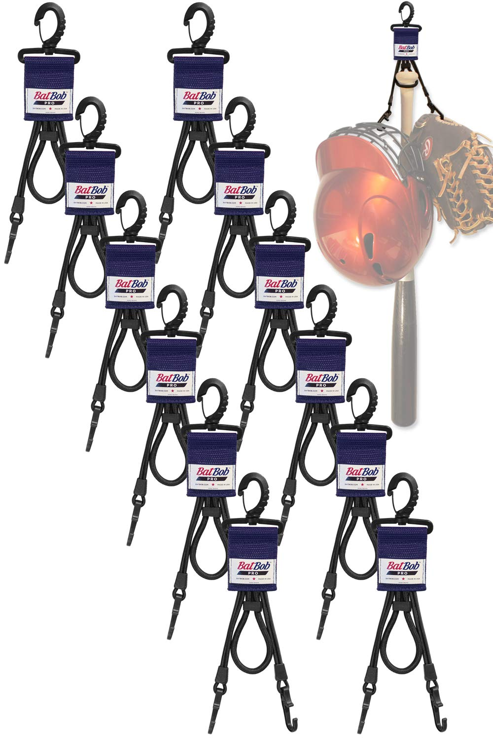 (Team 12 pack) Dugout Gear Hanger - The Dugout Organizer - For Baseball and Softball to hold bats, helmets and gloves (Navy) by BatBob